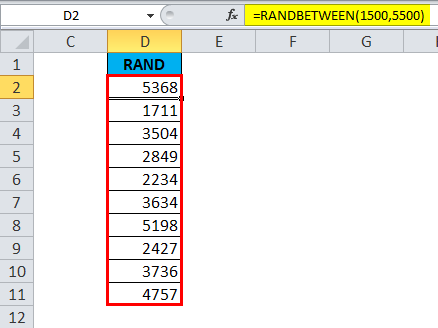 RANDBETWEEN Function