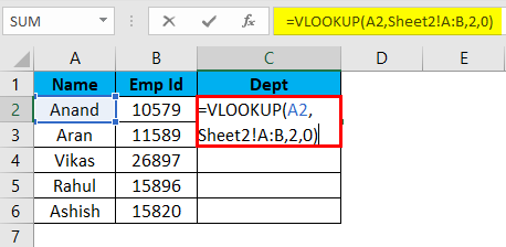 V-lookup function