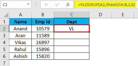 Result of V-lookup function