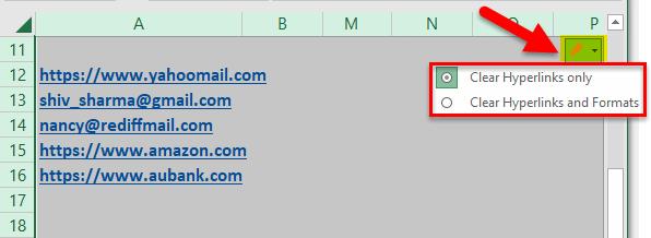 Remove Hyperlinks Example 2-5