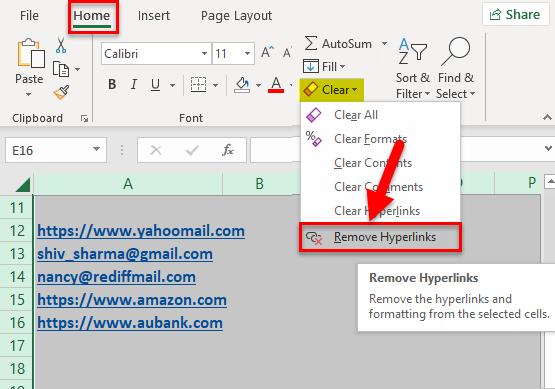 Remove Hyperlinks Example 2-8