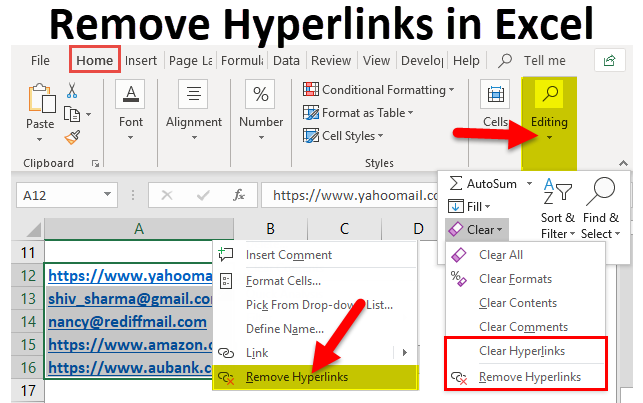 Remove Hyperlinks in Excel (Examples) | How to Remove