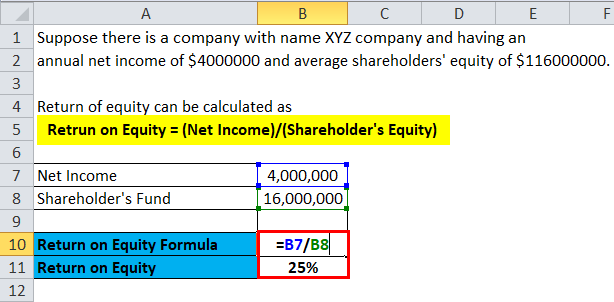 Retrun on Equity example