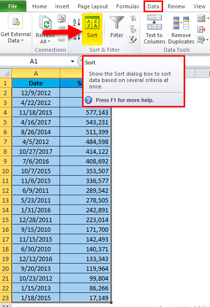 Sort Excel by Date Example 1-3