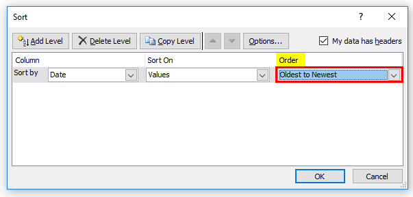 Sort Excel by Date Example 1-7