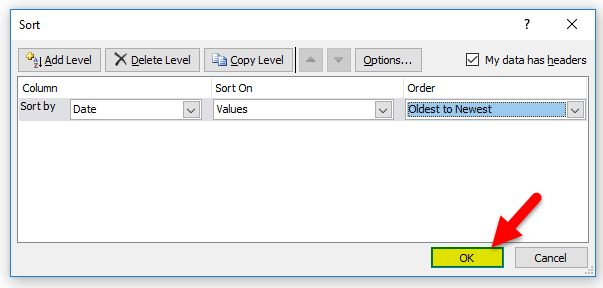 Sort Excel by Date Example 1-8