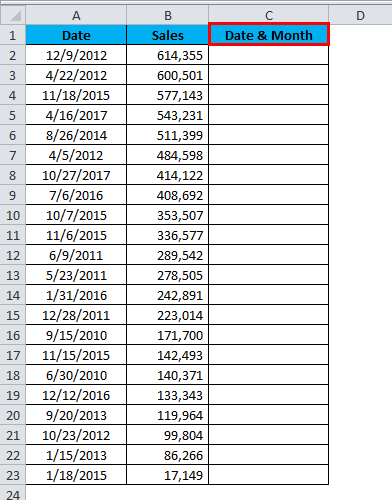 Sort Excel by Date Example 2-1