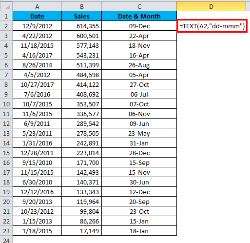Sort Excel by Date Example 2-2
