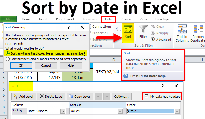 Sort by date in Excel