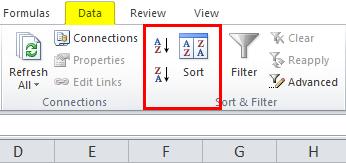 Sort column in excel data
