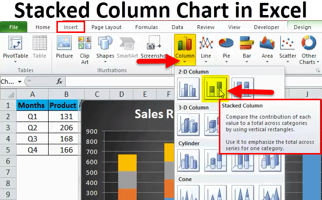 Stacked Column Chart in Excel