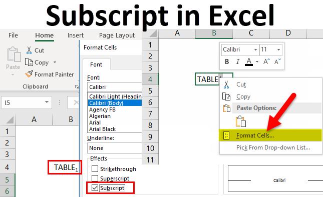 Subscript in Excel