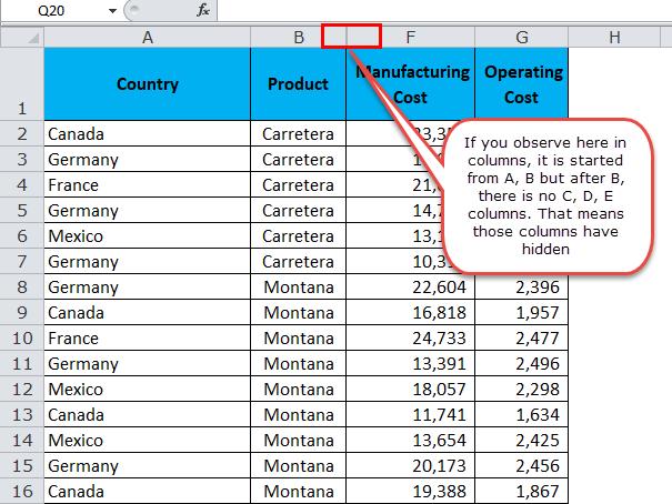 Unhide Columns in Excel