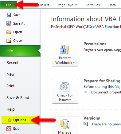 VBA Function Step 1