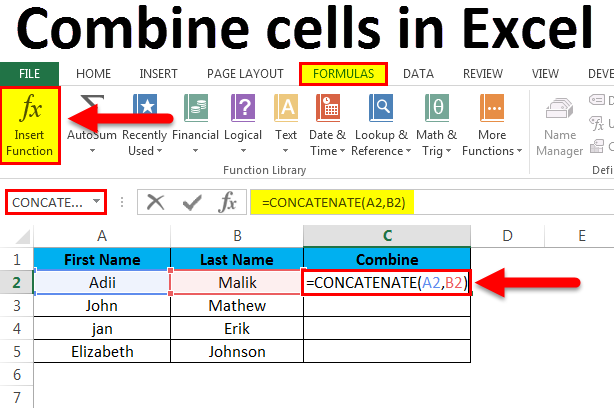 Combine cells in Excel (Examples) | How to use Combine cells?