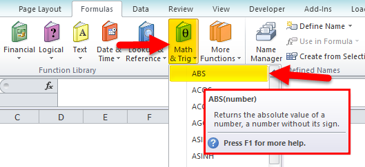 Absolute Value in Excel step 2