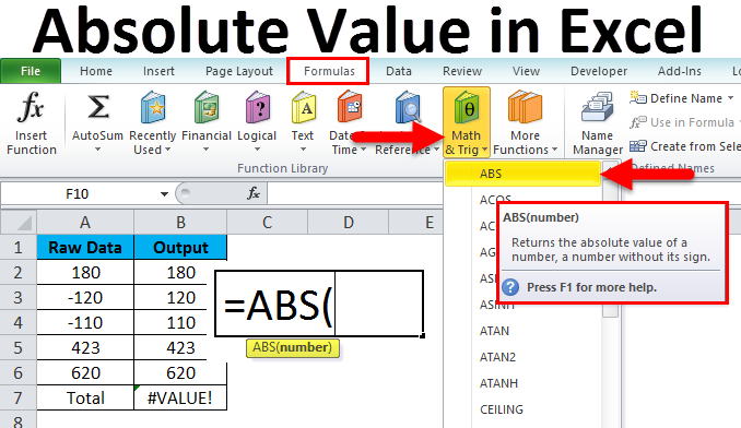 Absolute Value in Excel