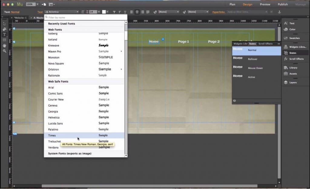 Adobe Muse tools 12