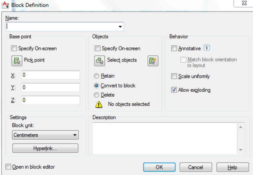 AutoCAD to create a block and the properties