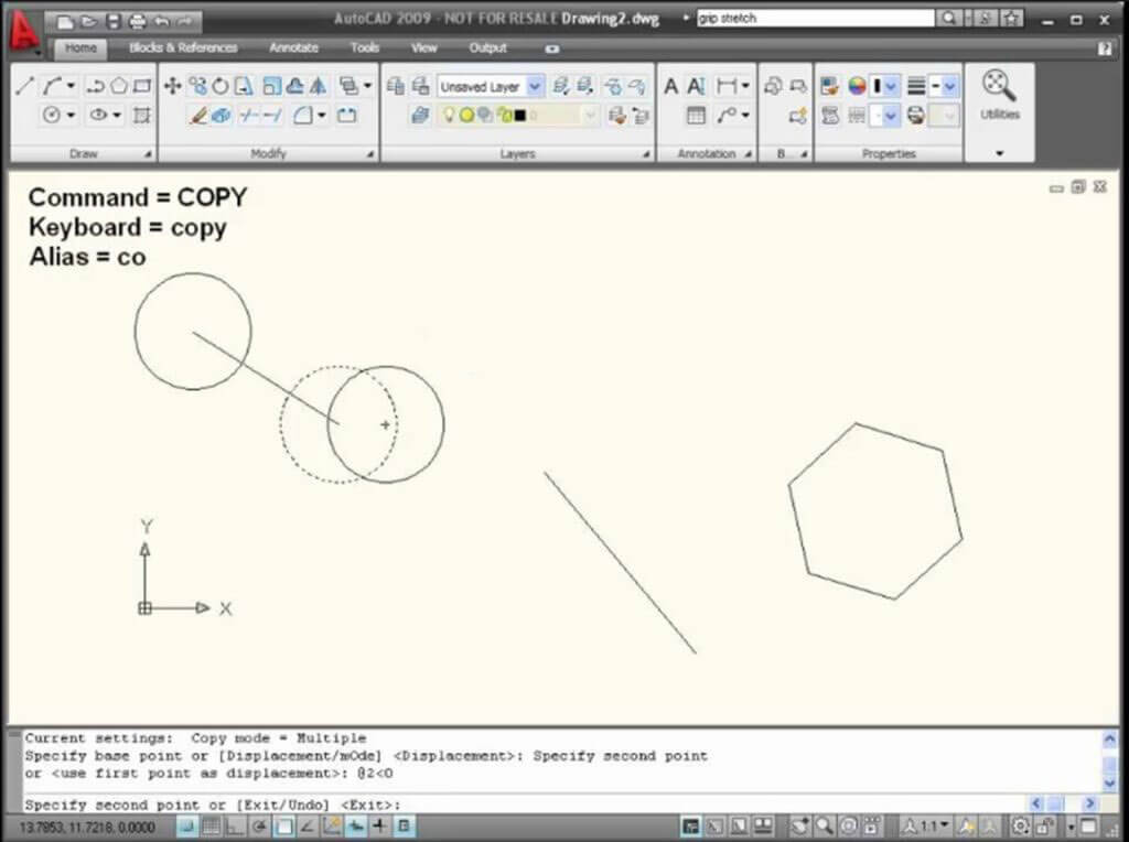 copy any shape drawn on the workspace