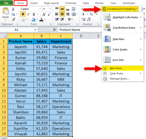 Conditional Formatting Example 3-2