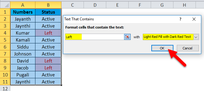 Conditional Formatting Example 1-1-3