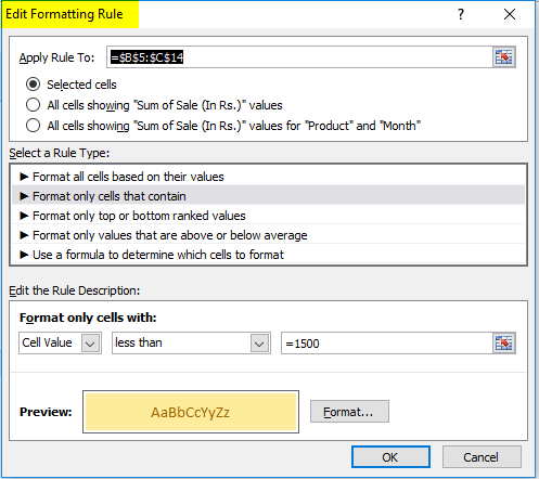 Editing Rule formatting window