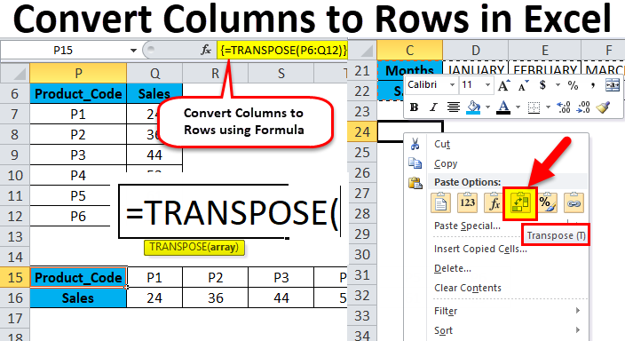 Convert Columns to Rows in Excel