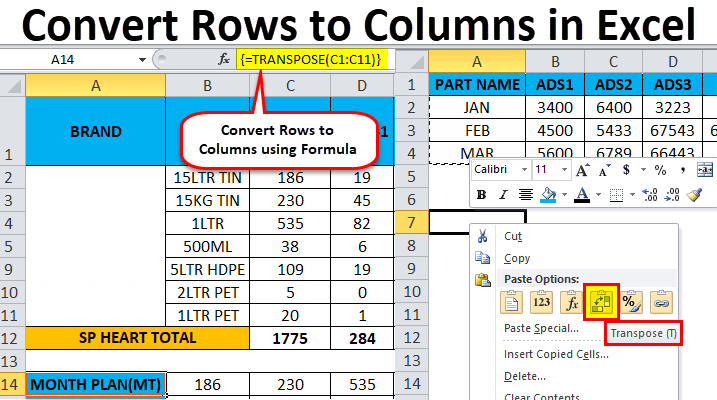 Convert Rows to Columns in Excel