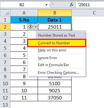 Converting Numbers to Text in Excel 1-4