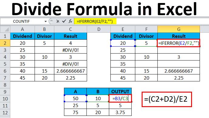 Divide Formula in Excel