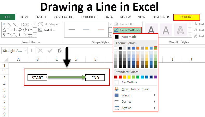 Drawing a line in excel