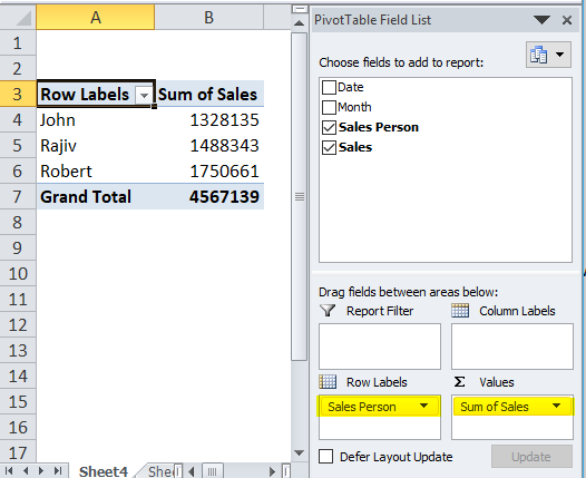 Dynamic Tables Example 1-4