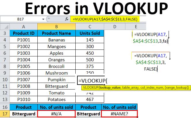 Errors in VLOOKUP