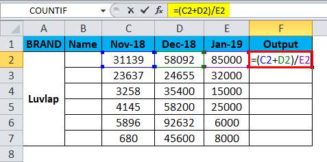 Excel Divide Example 3-2