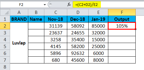 Excel Divide Example 3-3