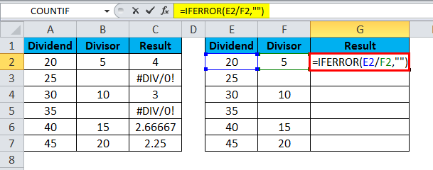 Excel Divide Example 5-2