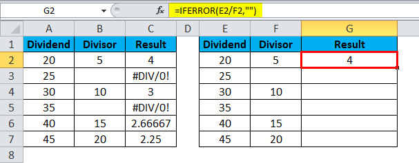 Excel Divide Example 5-3