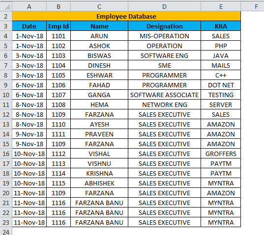 Excel Form Example 1-1