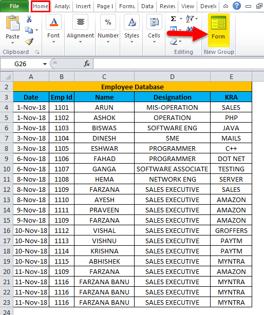 Excel Form Example 1-2