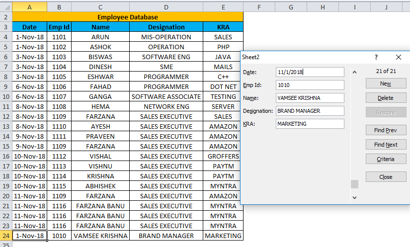 Excel Form Example 2-1