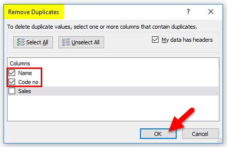 Excel Remove Duplicates Example 3-2