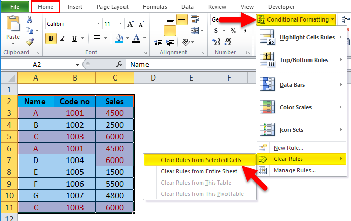 Excel Remove Duplicates Step 1-5