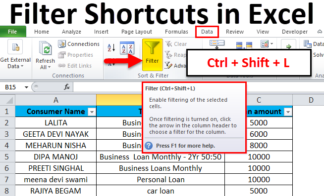 filter shortcuts in excel  examples
