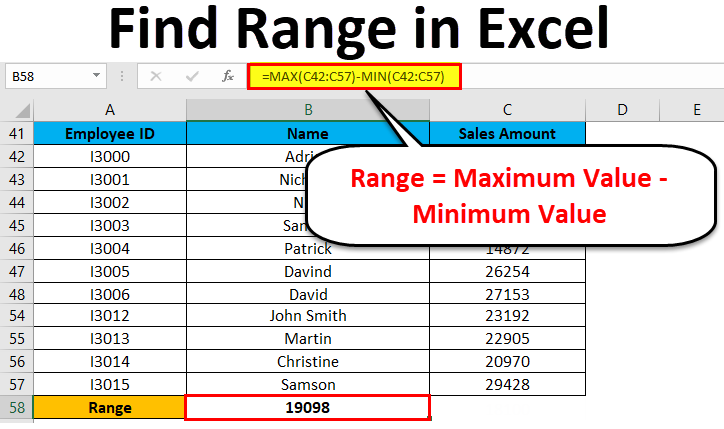 Find Range in Excel