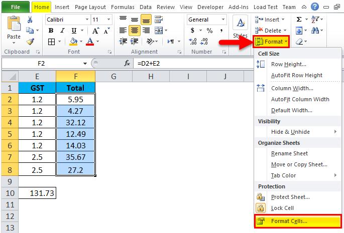 Formula bar example 1-7