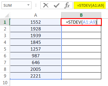 How to Use STDEV 1.2