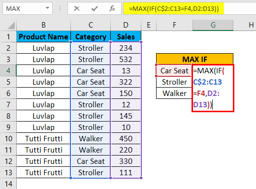 MAX IF Function Example 2-4