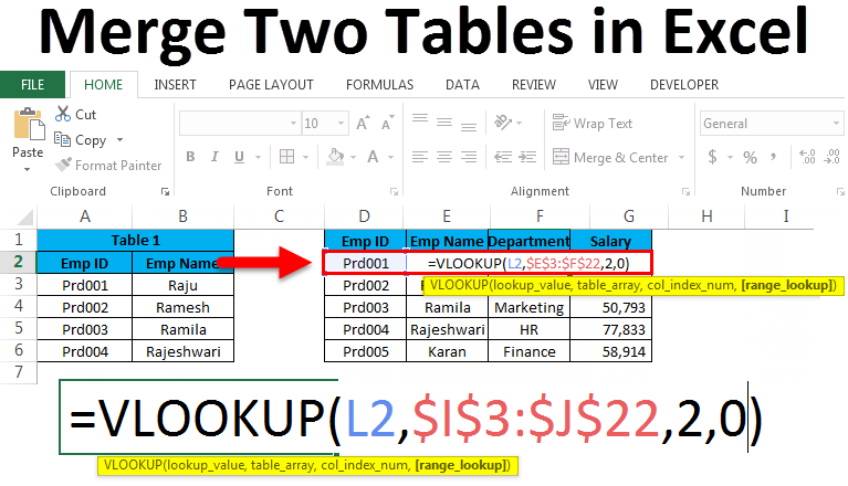 Merge Two Tables in Excel