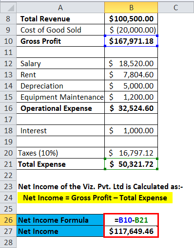 Calculation of Net Income for Viz. Pvt. Ltd